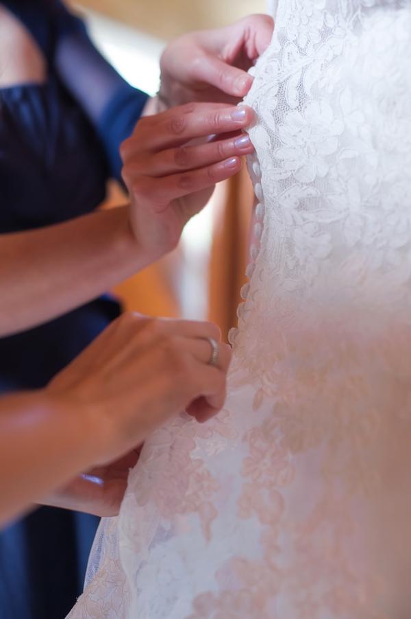 Fastening wedding dress