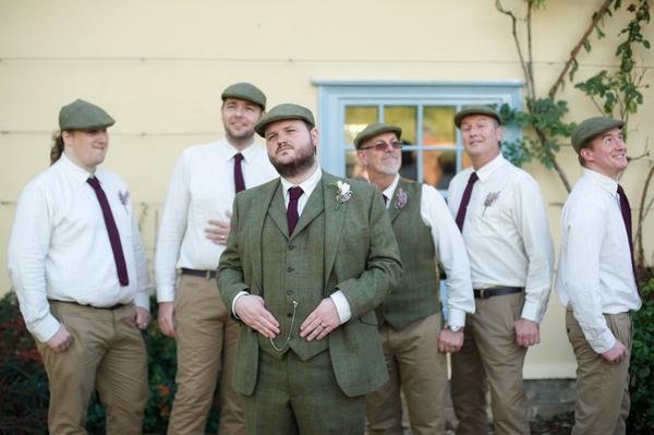 Groom in tweed with groomsmen