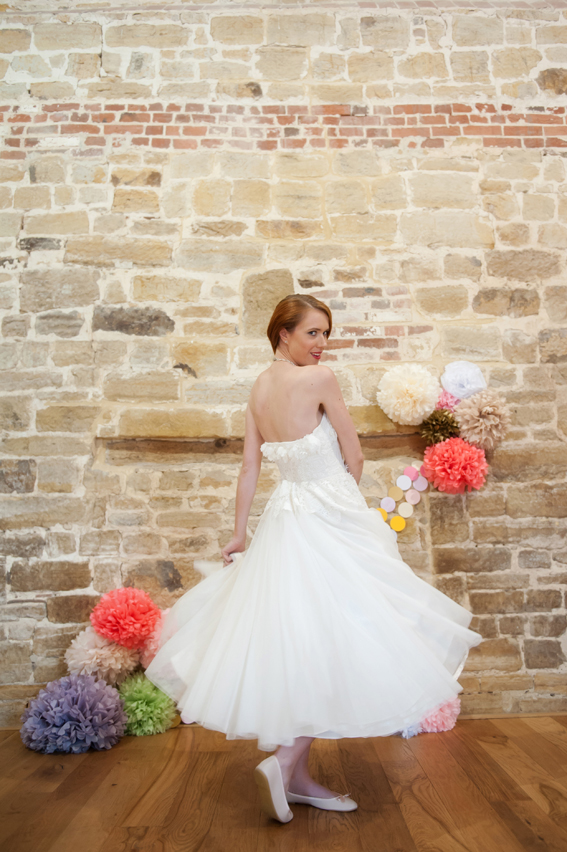 Bride twirling in dress