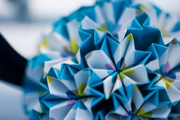 Blue paper pom pom
