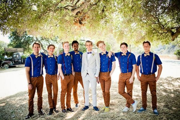 Vintage groom with groomsmen