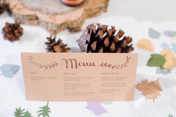 Autumn wedding menu