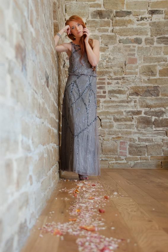 Bride standing in corner