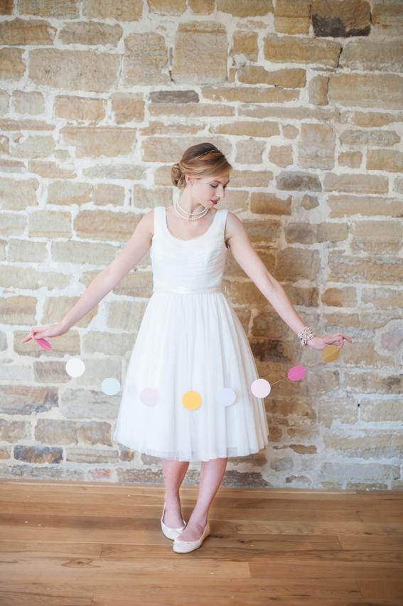 Bride holding garland