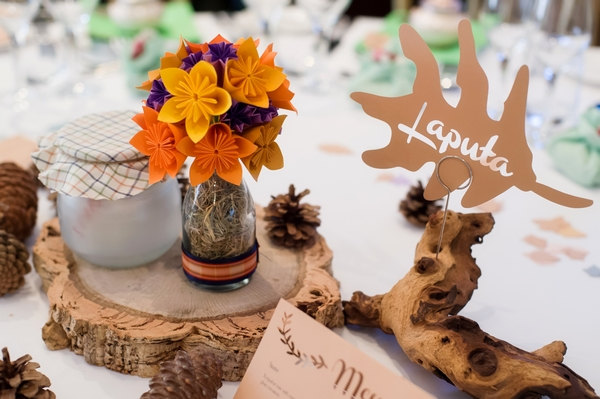 Autumnal wedding table decorations