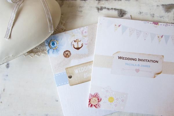 Vintage Nautical and Shabby Chic Bunting Wedding Invitations from Dotty About Paper