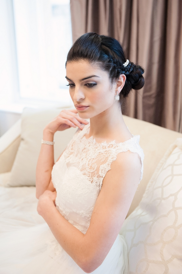 Bride wearing Peggy Earrings by Olivier Laudus