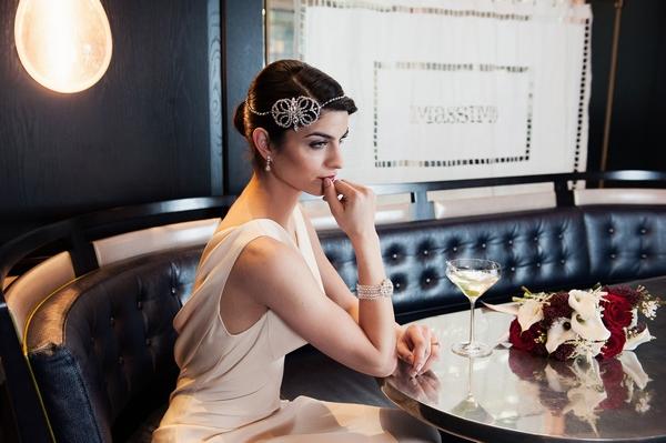 Bride wearing Clarisse Forehead Band £135 & Alejandra Bracelet by Olivier Laudus