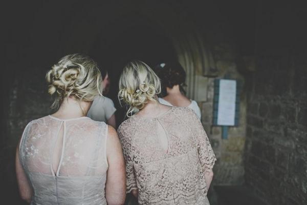 Bridesmaids entering church