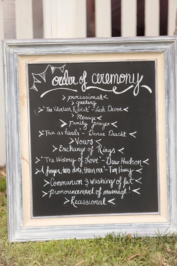 Wedding order of service written on chalkboard