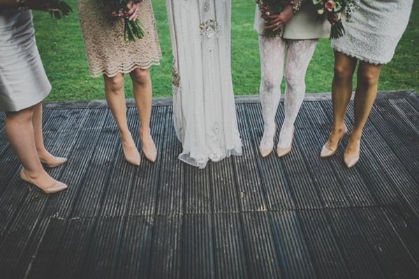 Bride and bridesmaids' legs