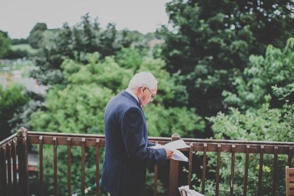Father checking wedding speech