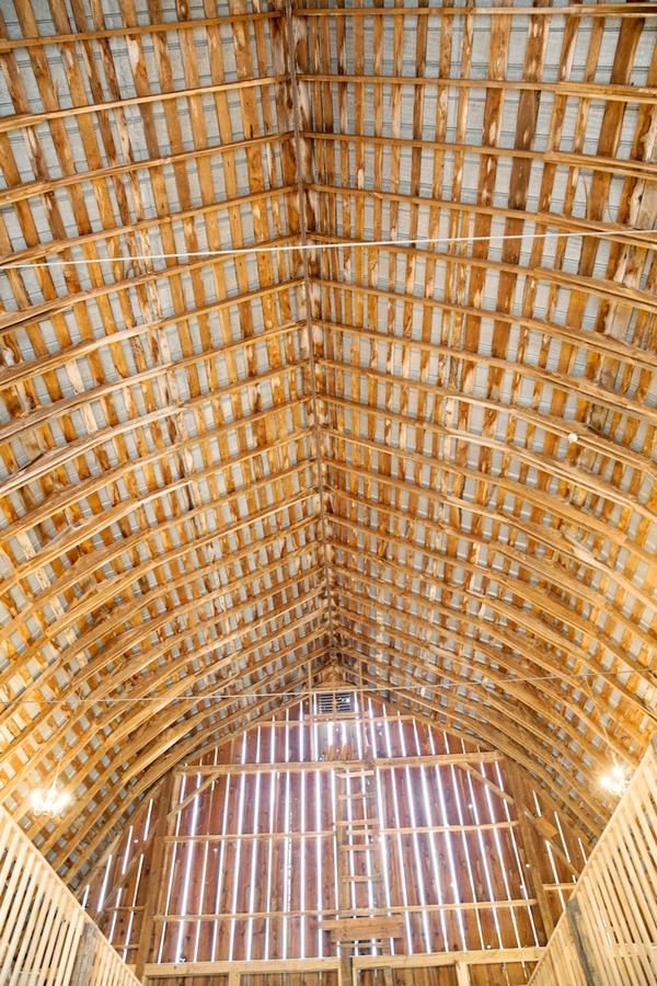 Beamed ceiling of barn