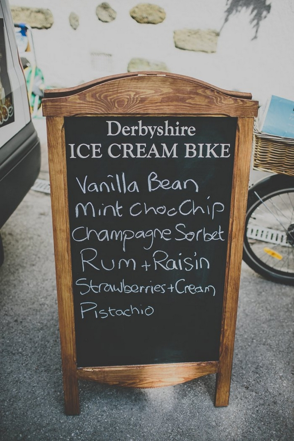 Ice cream bike chalkboard sign