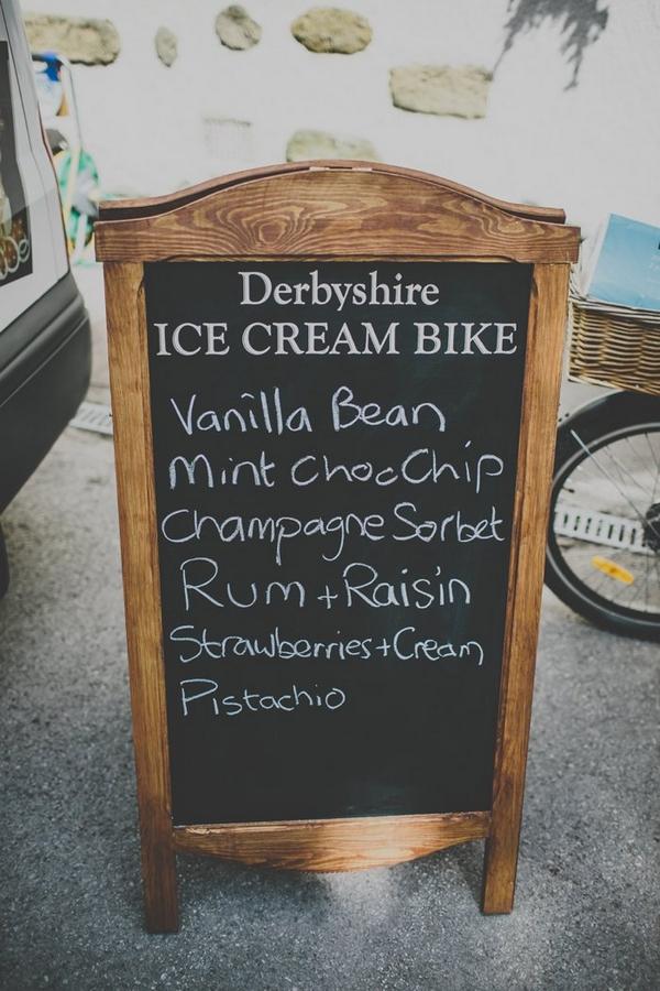 Ice cream bike chalkboard sign