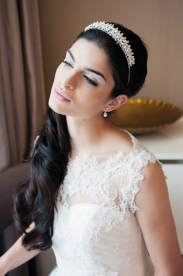 Bride wearing Melody Tiara by Olivier Laudus