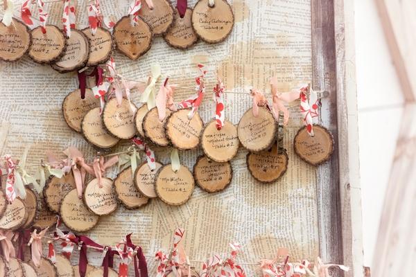 Tree wedding table plan tags