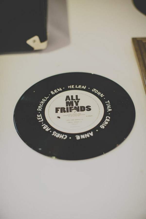 Vinyl record on wall