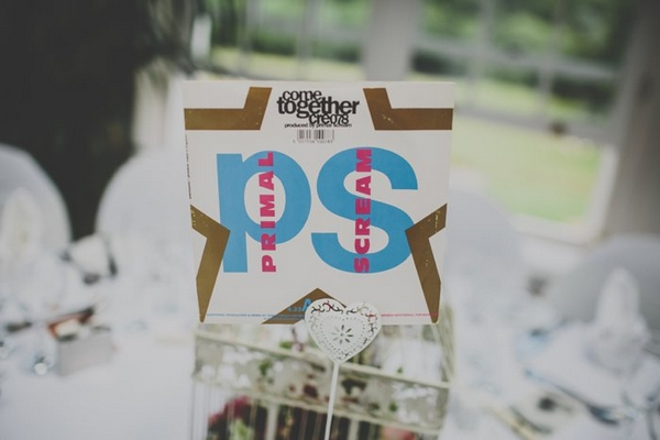 Record wedding table sign