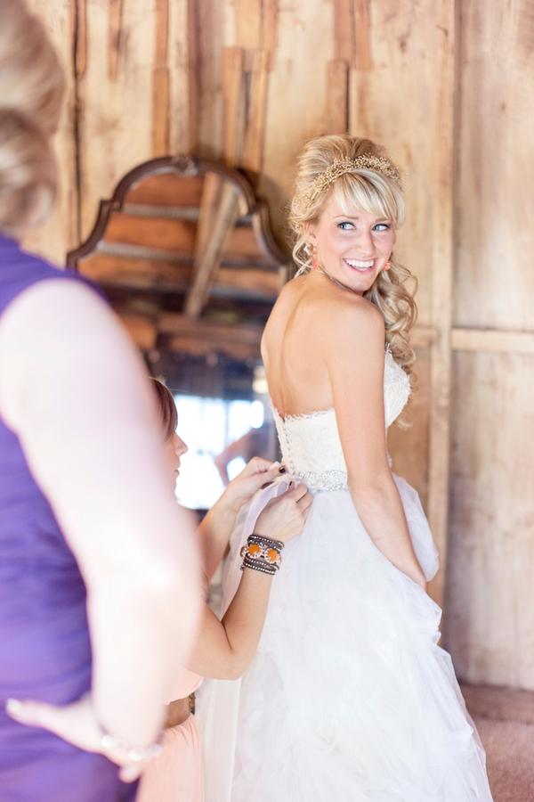 Bride looking over shoulder