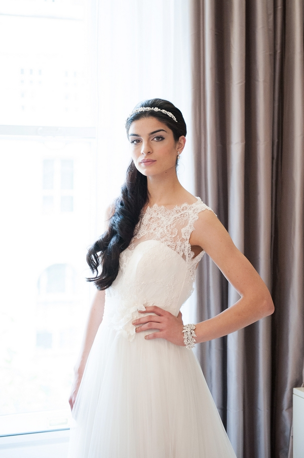 Bride wearing Macie Headband by Olivier Laudus