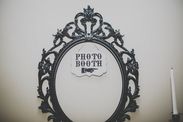 Photo booth sign on mirror