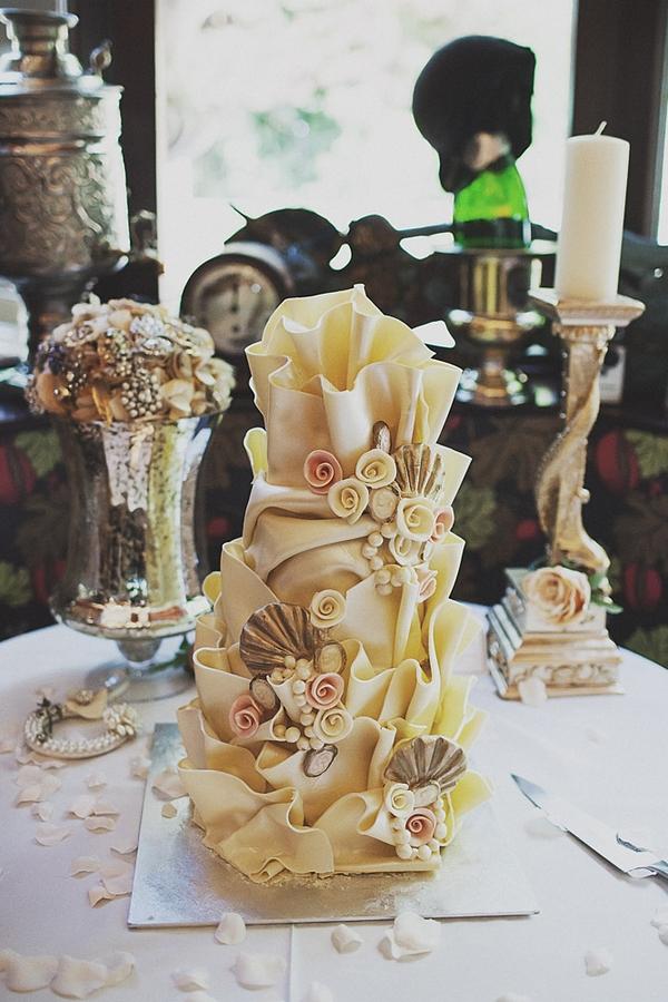 Elaborate sea themed wedding cake