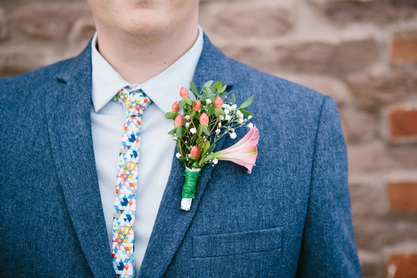 Colourful tie and buttonhole