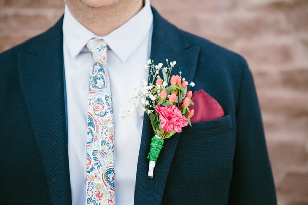 Patterned tie and buttonhole
