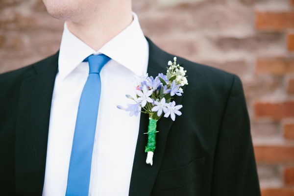 Blue skinny tie and buttonhole