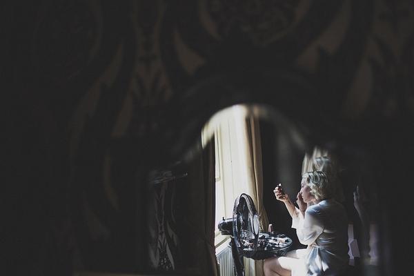 Bride doing make-up
