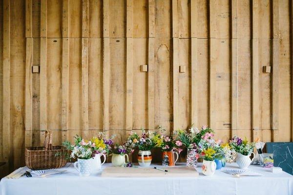 Table of wedding flowers