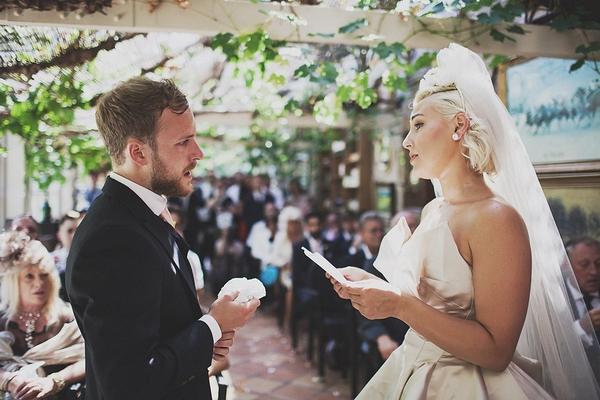 Bride reading in wedding ceremony