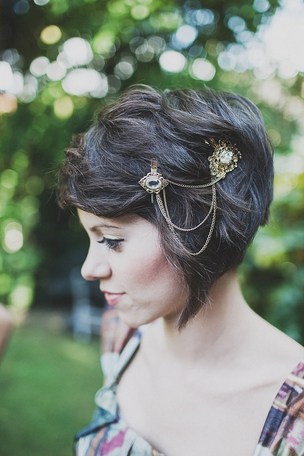 Bridesmaid with chain hair accessory
