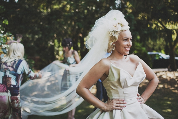 Bride's long veil