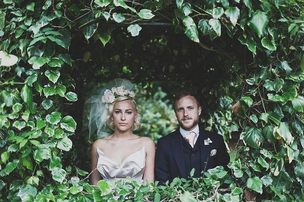 Bride and groom in bush