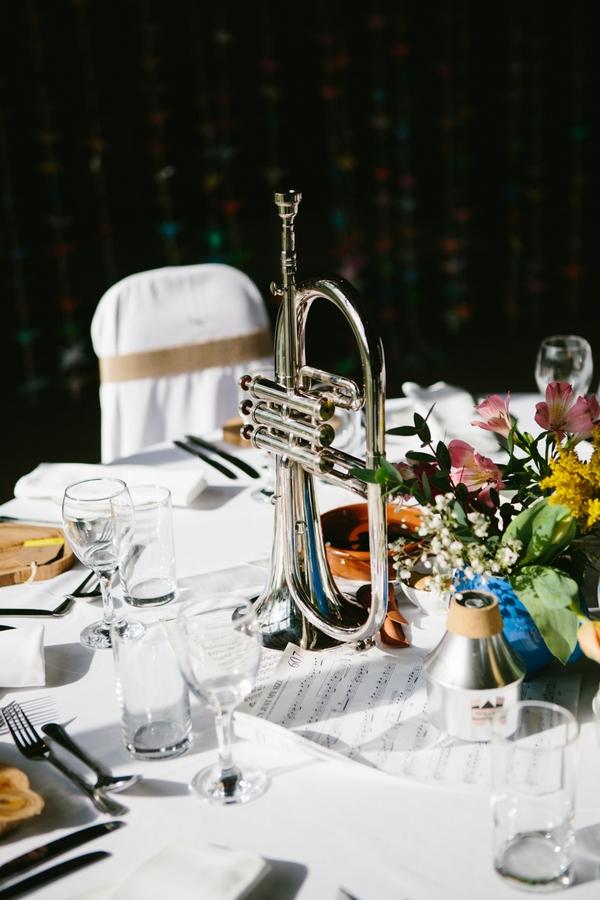 Trumpet on wedding table
