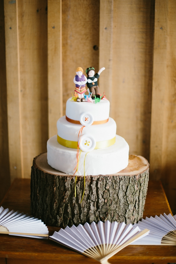 Wedding cake on log