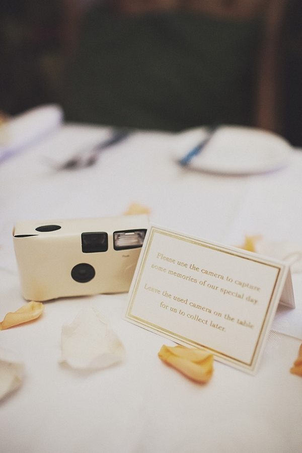 Disposable camera on wedding table