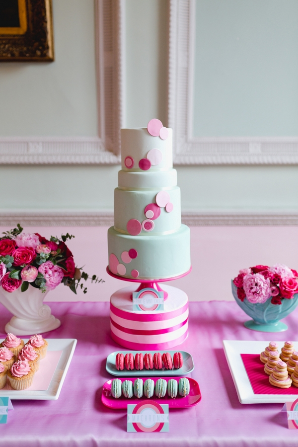 Mint coloured wedding cake with spots