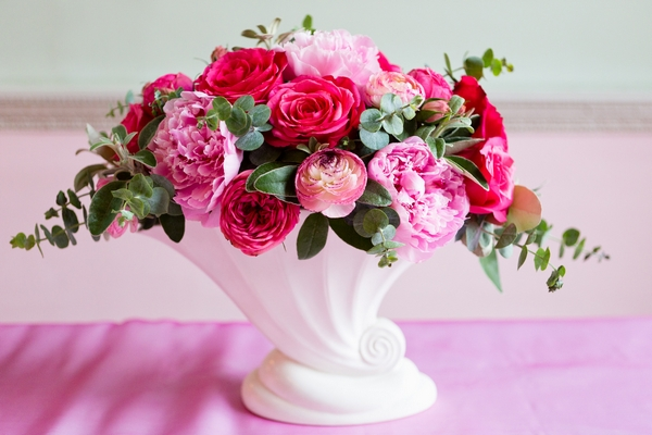 Bowl of roses and peonies