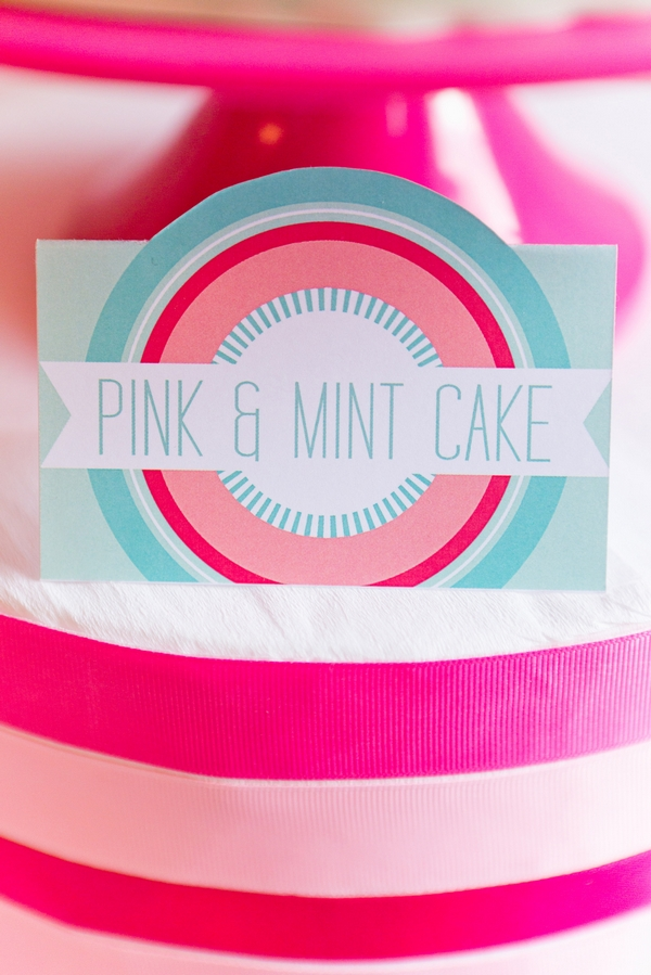 Pink and mint cake label