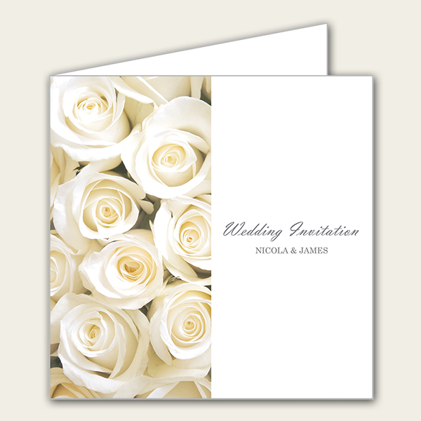 Cream English Rose Wedding Invitation - Dotty About Paper