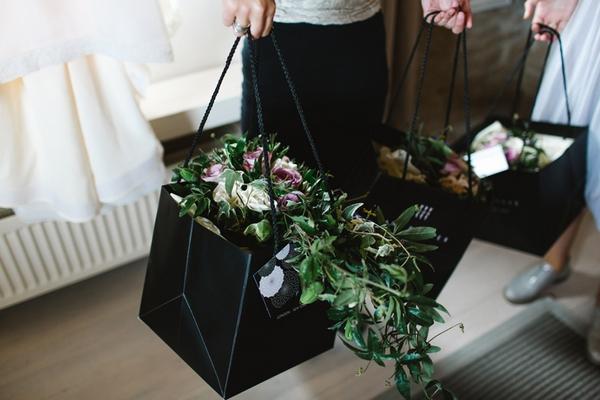 Wedding flowers in bag