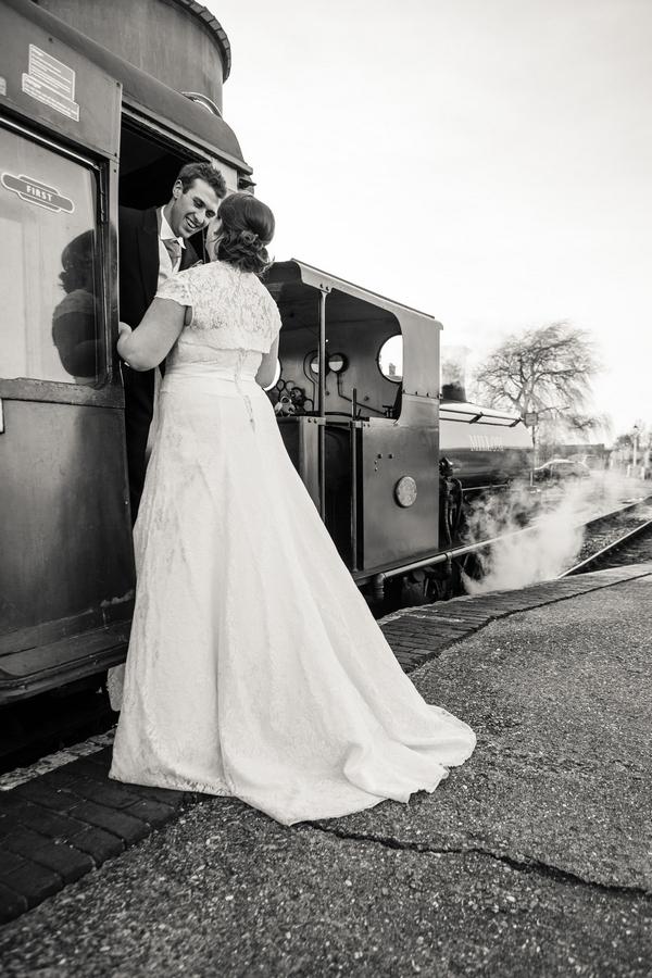 Bride and groom on train