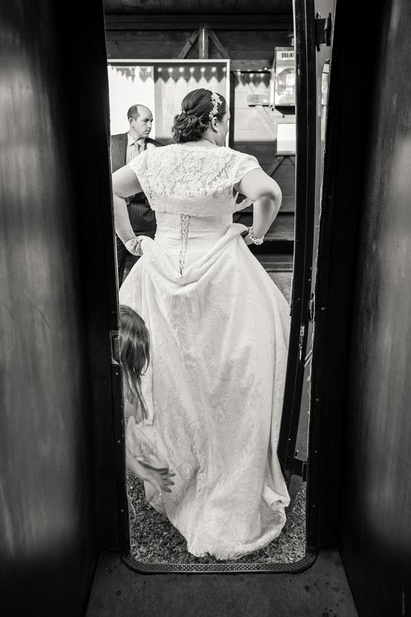 Bride getting off train