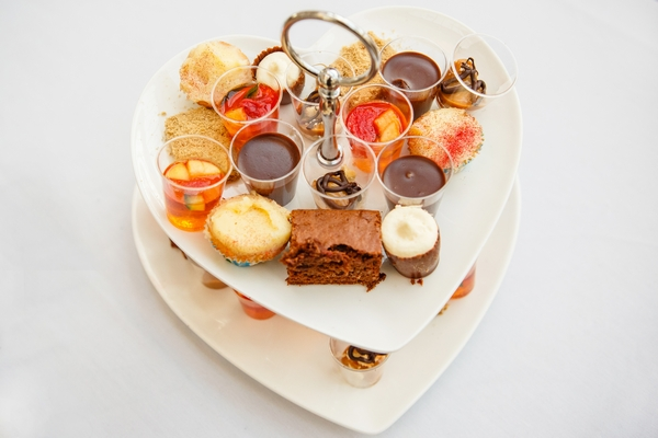 Heart shaped cake stand of afternoon tea