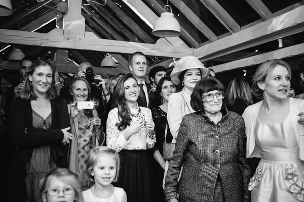 Wedding guests watching dance