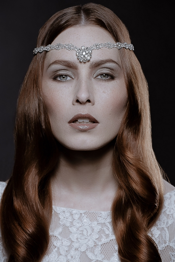 Model wearing Darecy Bridal Circlet by Debbie Carlisle