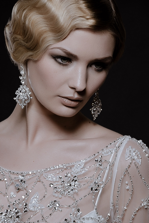 Model wearing Earrings by Debbie Carlisle